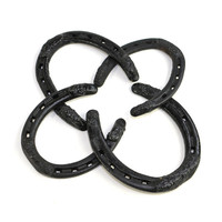 Horseshoes (4) - Black Cast Iron, Painted for Collectible Vintage Southwest Ranch Home Decor or Upcycle Supply - Mixed Sizes