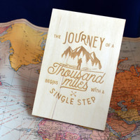 Journey of a Thousand Miles Wood Card - Baltic Birch Engraved Card