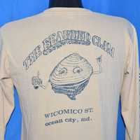80s Bearded Clam Bar Ocean City MD LS Pocket t-shirt Medium