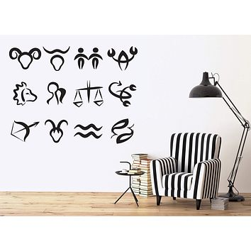 Vinyl Decal Astronomy Science Wall Stickers Symbols Zodiac Signs in Order of Sun Moon Unique Gift (n386)