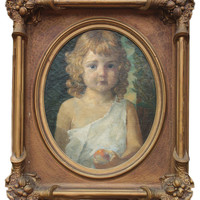 Romantic Era Portrait Young Girl with Apple late 19th century