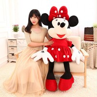 46-100cm 3 Color Mice Mickey Mouse Minnie Mouse Stuffed Plush Toy Soft Good Quality Lover Valentine Day Gift Doll Movie Cartoon