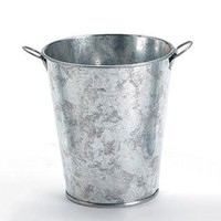 "Small Galvanized Metal Floral Bucket in Silver - 4"" Tall"