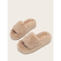 Open Toe Faux Fur Wedge Mules
