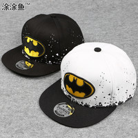 2016 Fashion Kids Cartoon Snapback Caps, Flat Brim child baseball cap, embroidery children spiderman hats, Cute batman hat