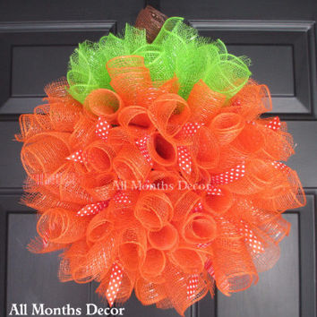 Small Pumpkin Deco Mesh Wreath with Ribbons