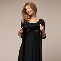 MUQGEW Clothes For Pregnant Maternity Dresses Women Mom Pregnant Nursing Baby Maternity Wrinkle Long Sleeve Dress Clothes