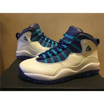 "Air Jordan 10 ""Charlotte"" white blue Basketball Shoes 40-47"