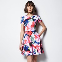 MILLY for DesigNation Floral Fit & Flare Scuba Dress