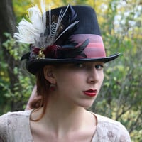 mad hatter top hat alice in wonderland top hat steampunk top hat mardi gras hat neo victorian top hat neo gothic top hat  RED QUEEN
