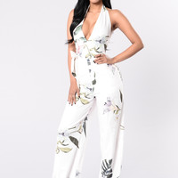 Hold You Down Jumpsuit - Tropical Ivory