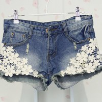 Denim Shorts with Floral Lace Design from Oh My! Fashion