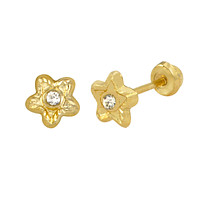 Tiny Flower with CZ Stud Earrings 10k Yellow Gold with Screwbacks 4mm