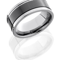 Ceramic and Tungsten 9mm Wide Wedding Band with Outer Grooves