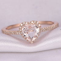 Heart shape morganite Engagement ring,14k Rose gold,6mm stone,diamond Wedding Band,Promise ring,Anniversary ring,Wedding ring