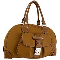 Nice Fashion Satchel Bag Purse w/ Decorative Front Flap Lock Camel