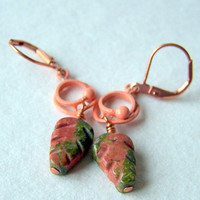 Unakite Leaf Earrings, carved leaves, vintage peach enamel drops,  nature-inspired jewelry - Autumn Fashion - Leaf Jewelry
