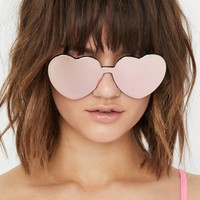 Peach Diet Dew Heart Sunglasses