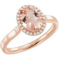 14kt Rose Gold Oval Morganite & 1/8 CTW Diamond Halo Ring