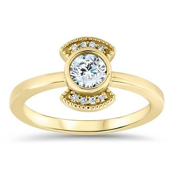Round Moissanite Engagement Ring Diamond Setting Thin Band Ring Bezel Set Center Stone - Juliette