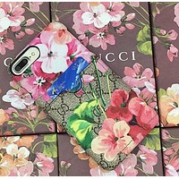 GUCCI Fashion Trending iPhone Phone Cover Case For iphone 6 6s 6splus 7 7plus hard shell Red flower G