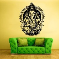 Wall Vinyl Sticker Decals Decor Art Bedroom Design Mural Ganesh Om Lotos Elephant Lord Hindu Success Buddha India (Z1599)