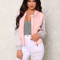 Pink Two Tone Zip Up Bomber Jacket