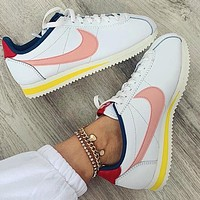 Onewel Nike Cortez Forrest Couple Retro Casual Sneakers White pink