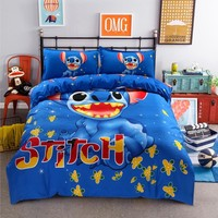 Disney Lilo and Stitch Bedding Set 3/4 Pieces Blue Comforter Cover 3D Boy Room Decor Bed Clothes Summer Bed Cover Pillow Cases