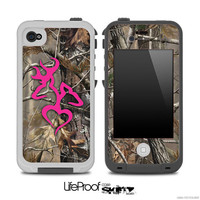 Real Camouflage V2 with Hot Pink Heart Deer Logo Skin for the iPhone 4/4s or 5 LifeProof Case