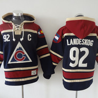 Colorado Avalanche Mens Sweaters #92 Gabriel Landeskog Black Ice Hockey Jersey Hoodies Stitched 100% Name,Number and Logos 3050