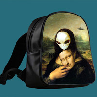 Mona Lisa Alien for Backpack / Custom Bag / School Bag / Children Bag / Custom School Bag *