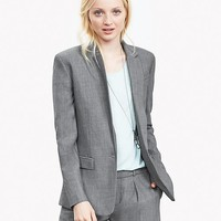 Banana Republic Womens Gray Lightweight Wool One Button Blazer