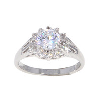 Dear Deer White Gold Plated Classic CZ Engagement Ring