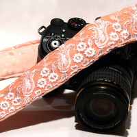 dSLR Camera Strap with Lace. Peach Camera Strap. Camera Accessories