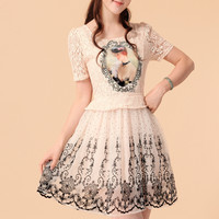 Photo nice lighht pink embroidery lace patchwork dress