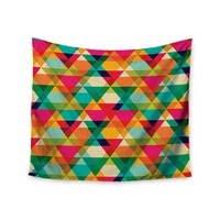 """Rainbow Geometry"" Colorful Triangles Wall Tapestry"