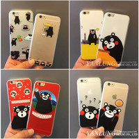 2016 Hot 3D Cute Japan Kumamon Animal Black Bear Coque for Apple iPhone 5 5S 6 6S Plus Phone Cases Cover Full Protective Caso