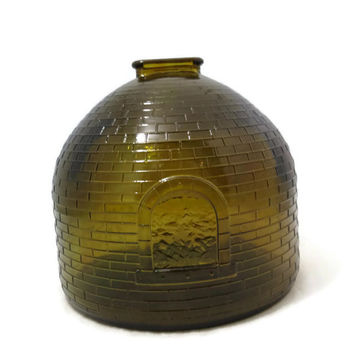 Vintage Coal & Coke Museum Bank, Beehive Shaped Coin Bank, 1969 Mid Century Amber Brown Glass Collectible Rare Bank