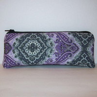 """Pipe Pouch, Pipe Case, Pipe Bag, Bold & Funky Bag, Purple Grey Pouch, Padded Pouch, Cute Pouch, Glass Pipe Bag, Vape Pen Case - 7.5"""" LARGE"""