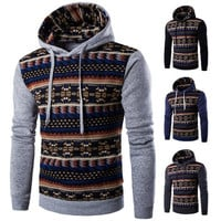 Korean style men's fashion casual slim fit printed Ethnic style hoodies jacket tide 4 colors [8834057612]