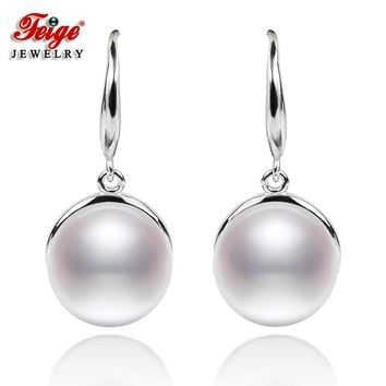 Feige Classic Style 925 Sterling Silver Drop Earrings 9-10mm Natural Freshwater Pearl Brincos For Women's Pearl Fine Jewelry