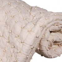 Pom Pom Cream Throw|Cushions  Throws|Bed Linen  Rugs|French Bedroom Company