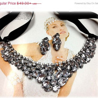 Bridesmaid jewelry Set , bridal necklace, vintage inspired statement, Black ribbon Crystal bib necklace earrings, wedding jewelry