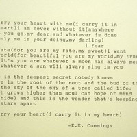 E.E. CUMMINGS i carry your heart poem typed on typewriter