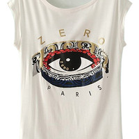 ROMWE Retro Eye Print White T-shirt