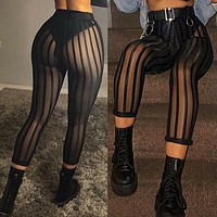 Women Sexy Black Striped Sheer Mesh Fashion Pants