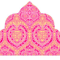 Wall Decal Headboard - Moroccan Nights - Fuchsia Pink and Yellow - TWIN - Lite version