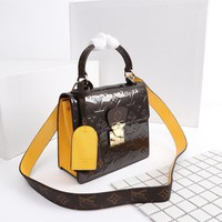 DCCK 1573 Louis Vuitton LV Monogram Vernis Lacquer cowhide Spring Street Handbag Brown Yellow