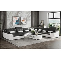 Classic Comfort Durable Luxurious Leather Sectional Sofa Set